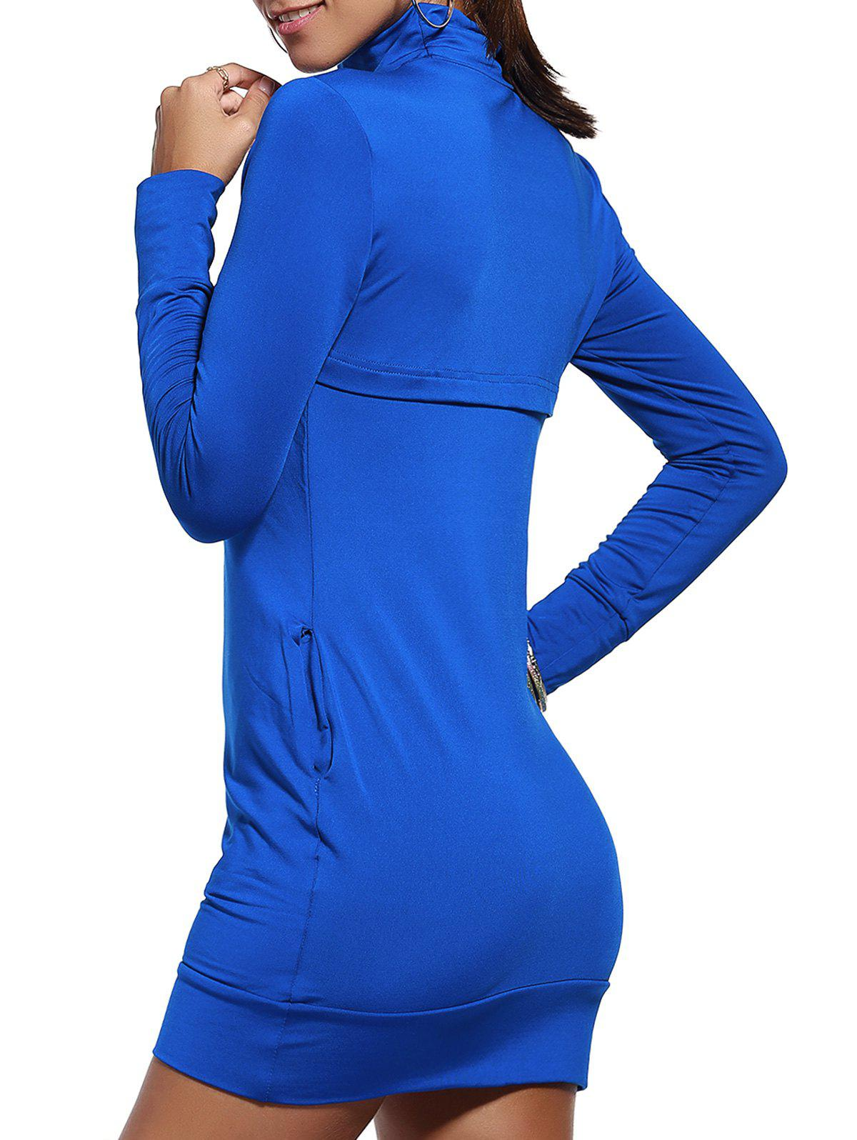 Trendy Pure Color Turtle Neck Long Sleeve Bodycon Dress For Women - BLUE XL