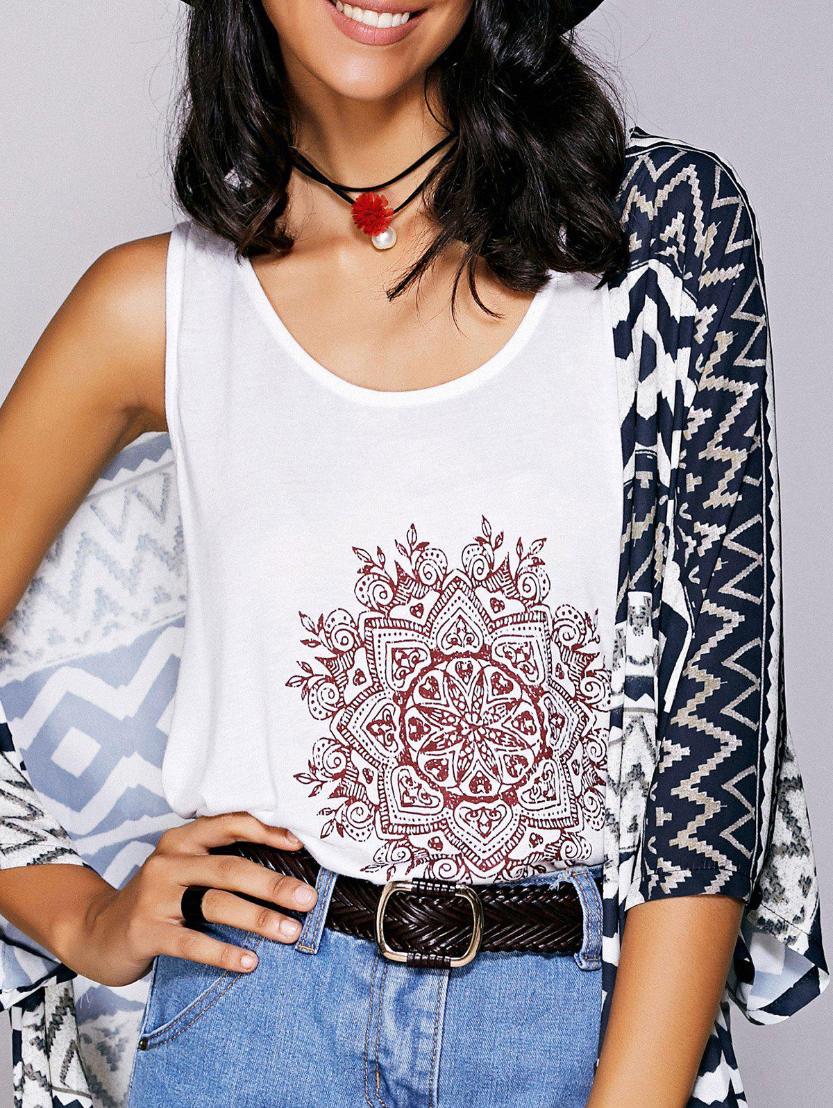 Casual  Scoop Neck Printed Tank Top For Women - WHITE M