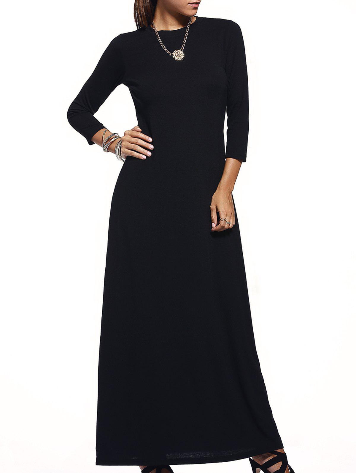 Brief Pure Color Round Collar 3/4 Sleeve Maxi Dress For Women - BLACK S