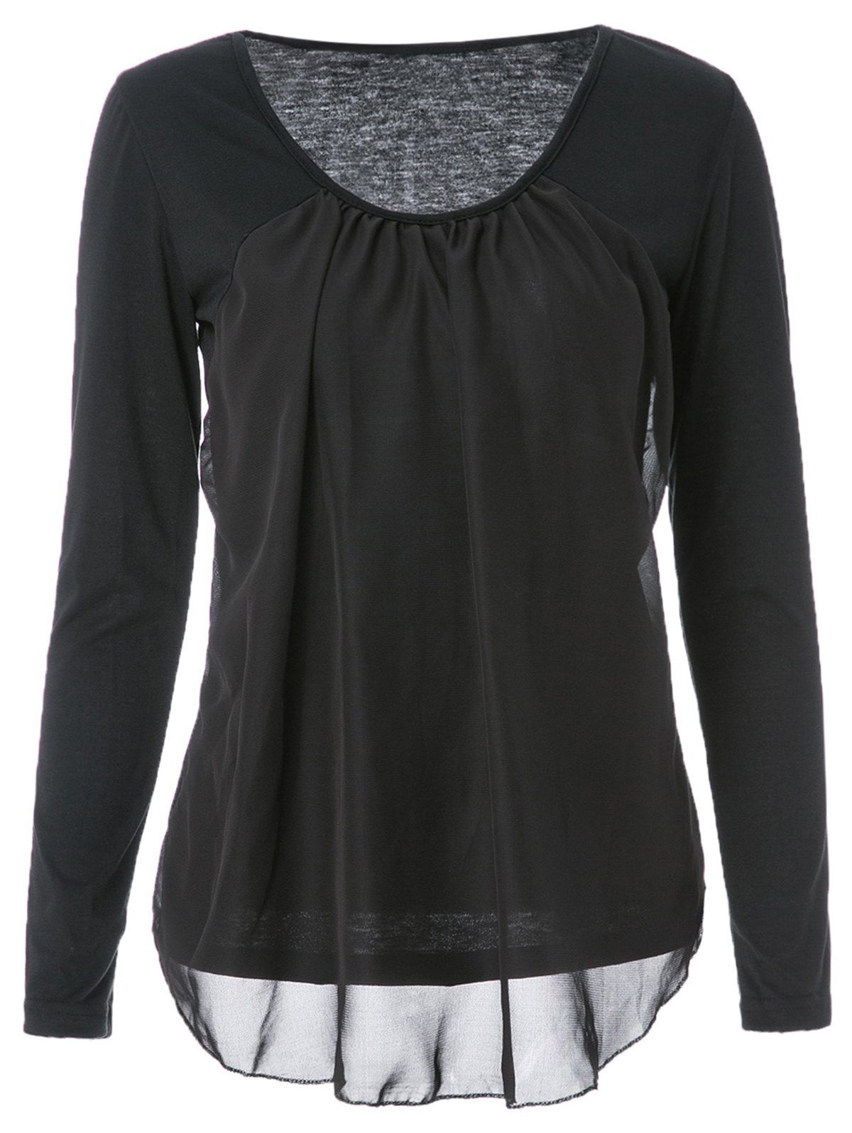 Casual Style Scoop Collar Chiffon Splicing Long Sleeve T-Shirt For Women - BLACK M