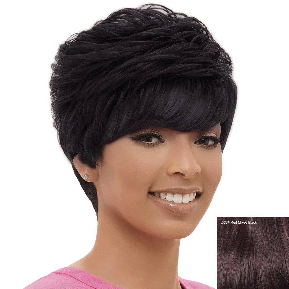 Women's Fashion Side Bang Human Hair Short Layered Cut Wig - RED MIXED BLACK