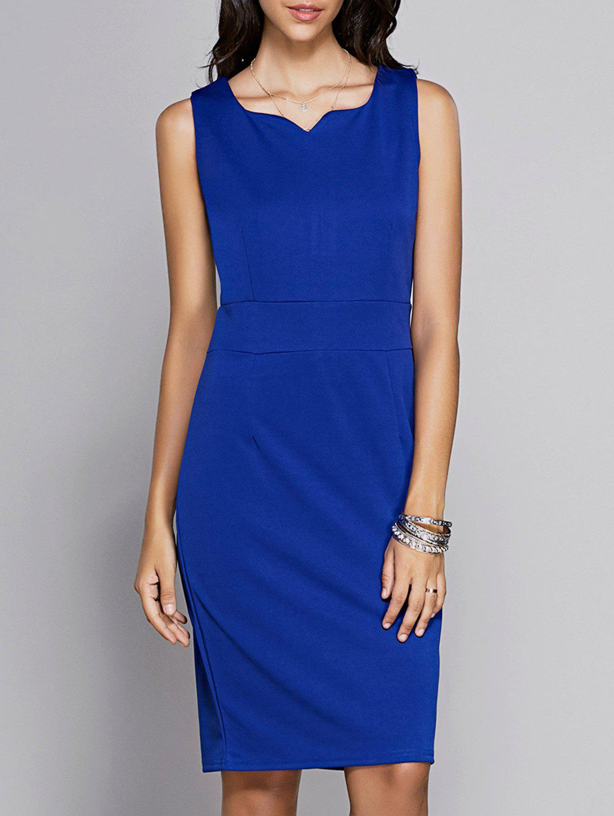 Trendy Women's Sleeveless Pure Color Knee-Length Dress - SAPPHIRE BLUE 2XL