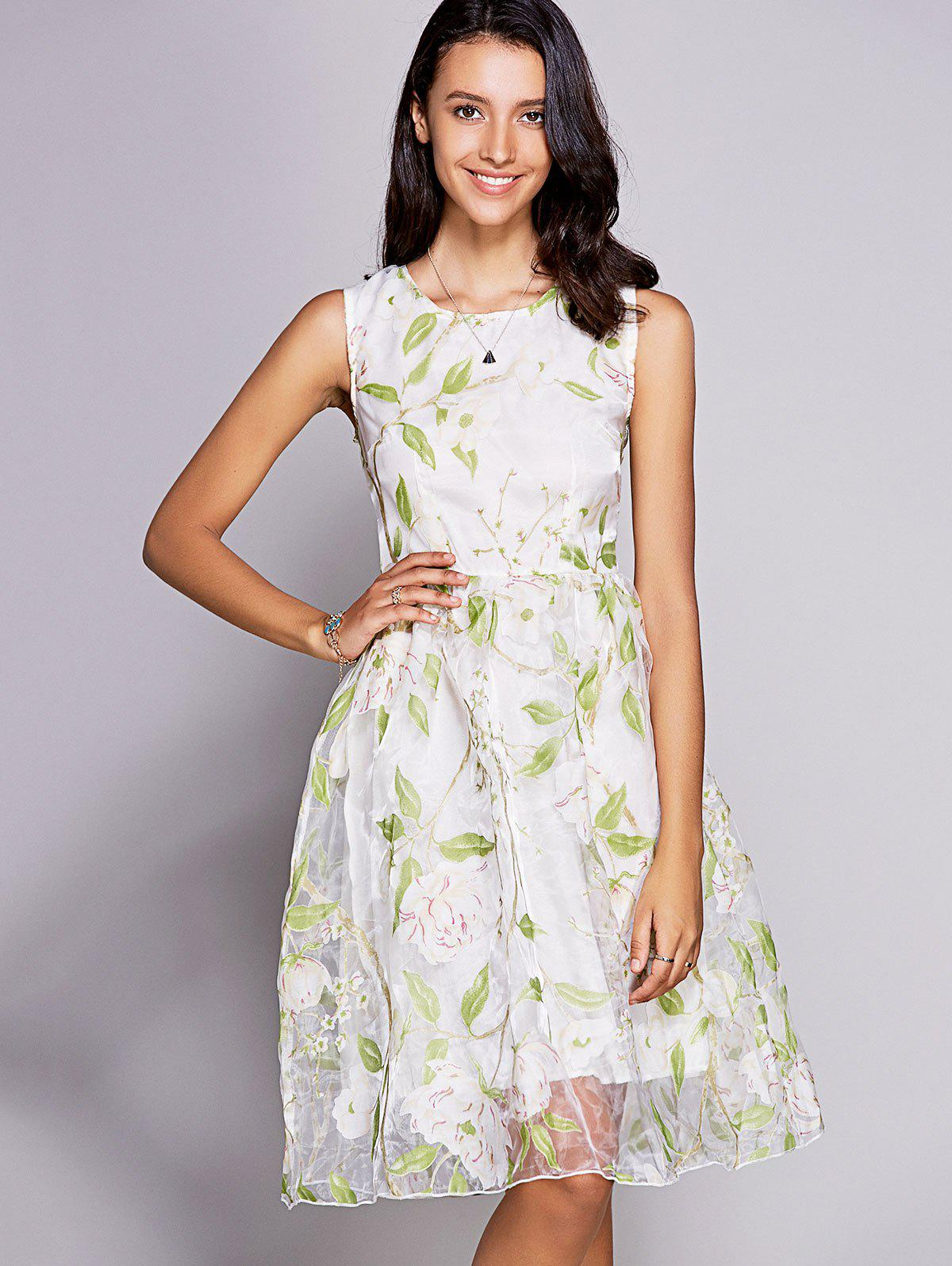 Elegant Jewel Neck Sleeveless Floral Print Organza Dress For Women - LIGHT GREEN 2XL