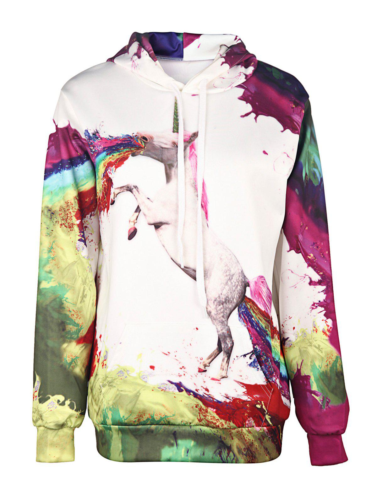 Stylish Colorful Animal Print Hooded Long Sleeve Hoodie For Women - WHITE M