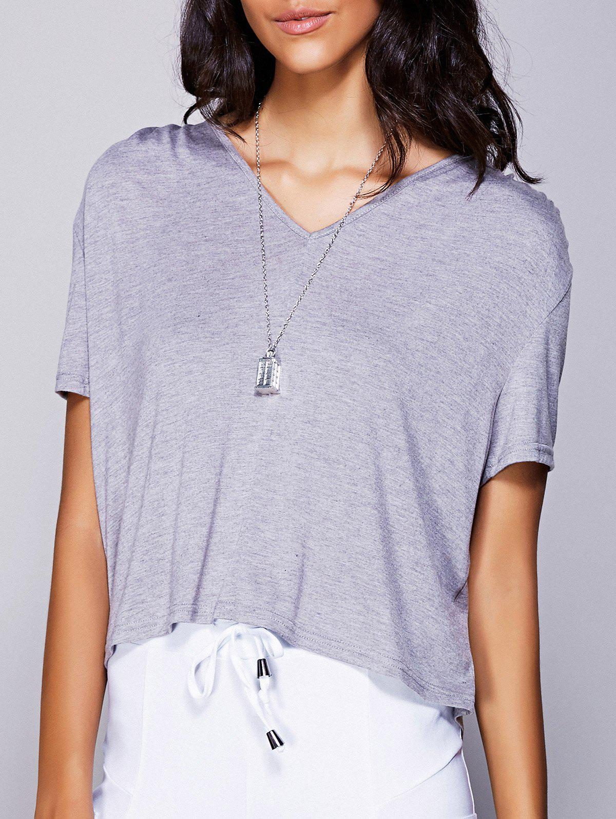 Casual Women's V-Neck High Low T-Shirt