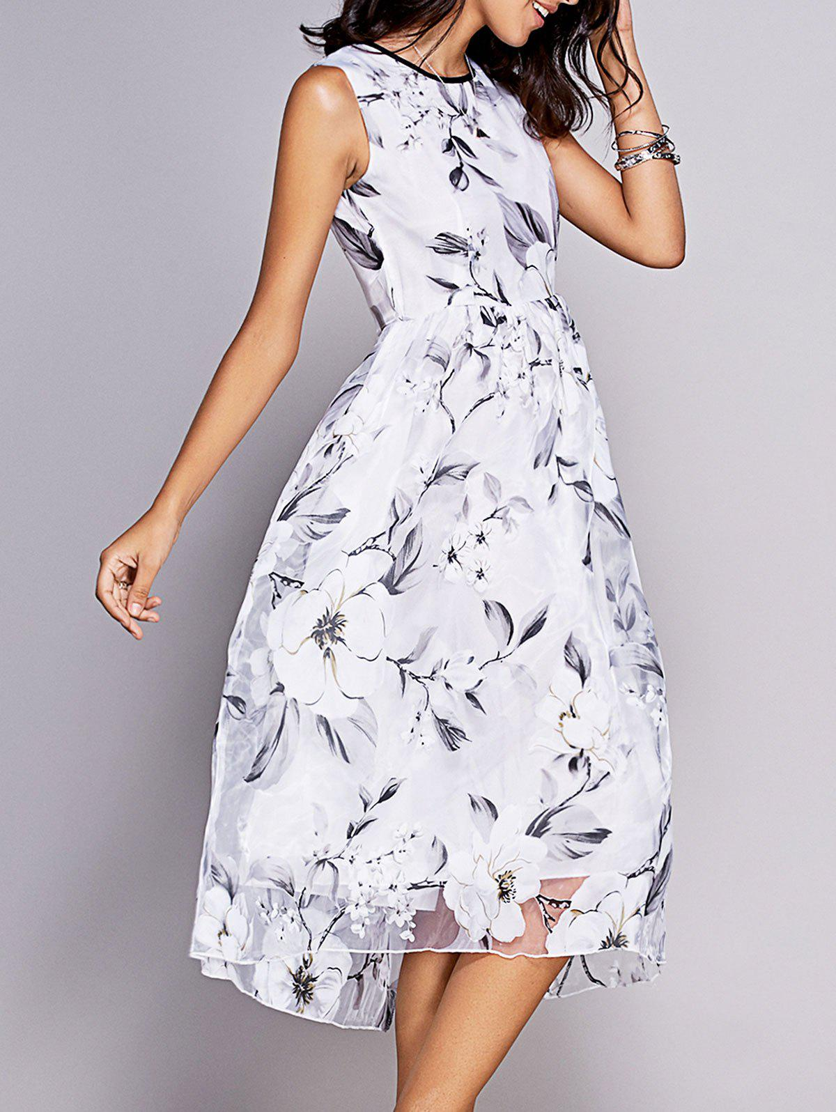 Sweet Round Neck Sleeveless Floral Print Women's Fit and Flare Dress - WHITE XL