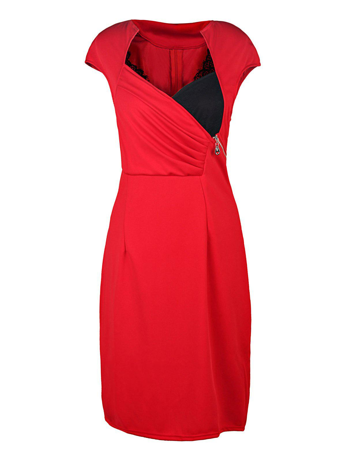 Sexy Stand-Up Collar Short Sleeve Bodycon Spliced Women's Dress - RED S