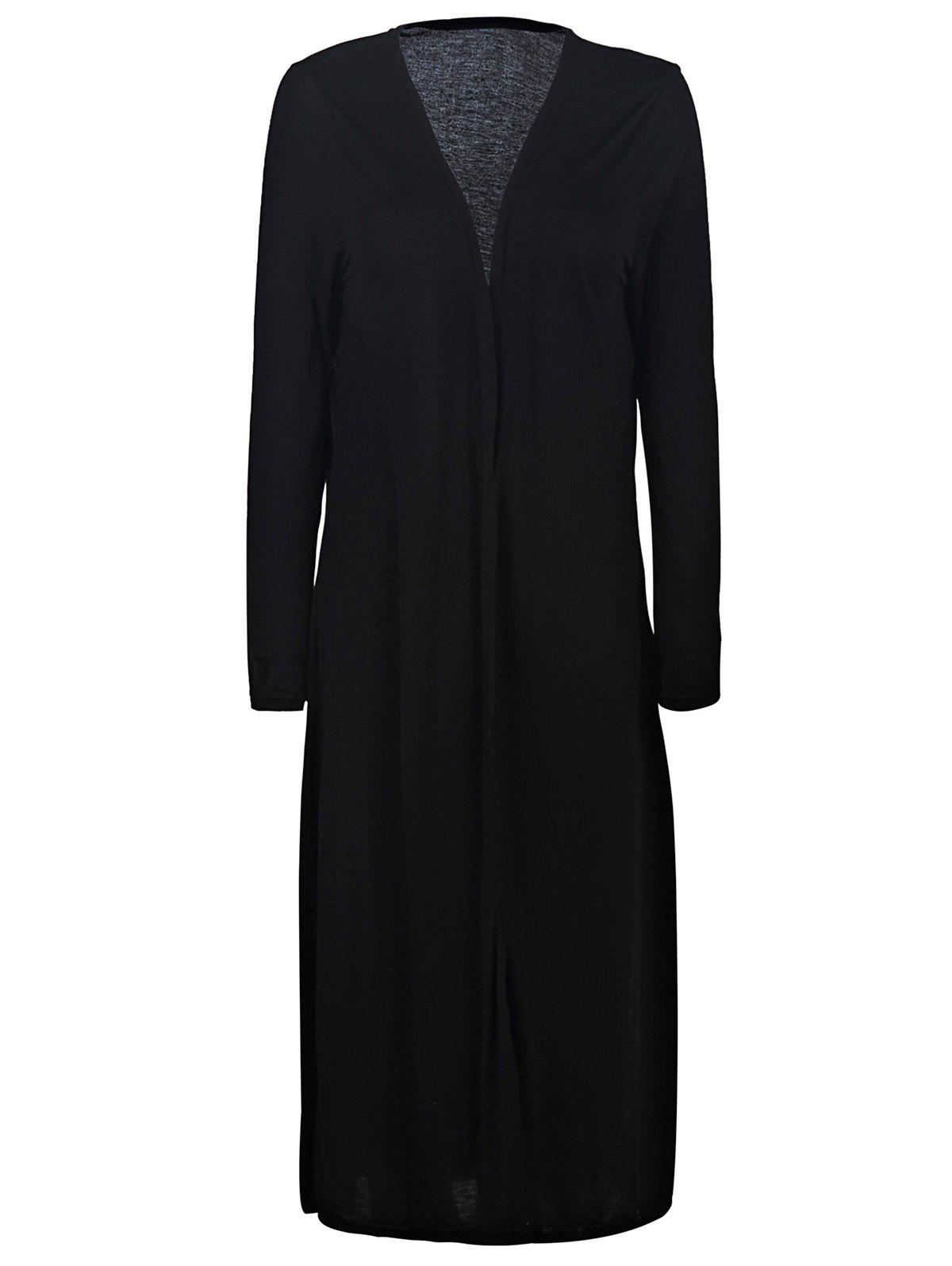 Simple Collarless Long Sleeve Plus Size Pure Color Women's Cardigan - BLACK 2XL