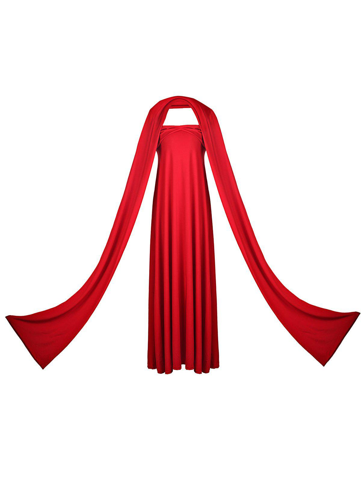 Sexy Sleeveless Self Tie Design Convertible Solid Color Women's Dress - RED L