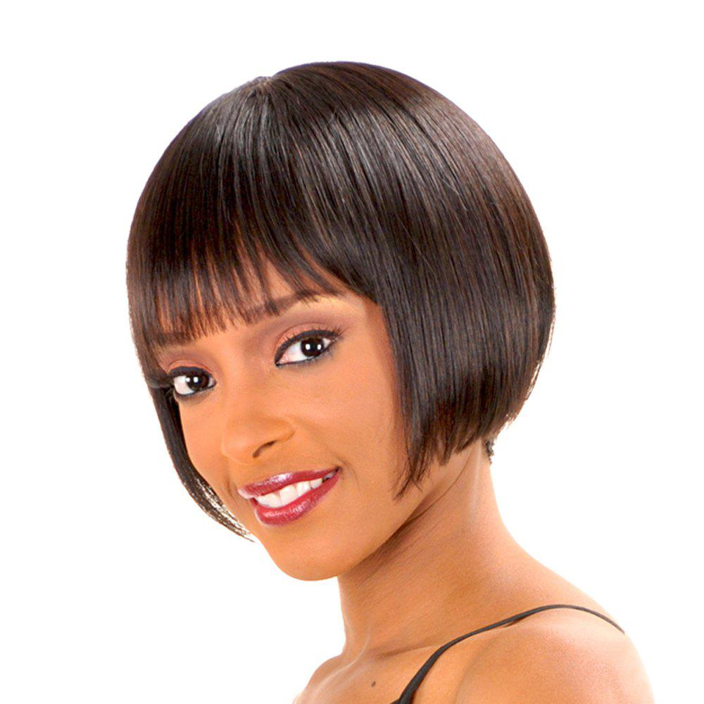 Women's Fashion Full Bang Short Human Hair Bob Wig
