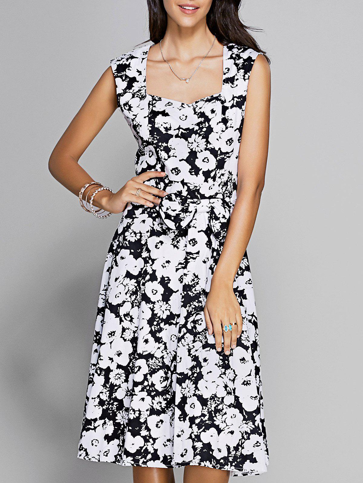Vintage Women's Floral Print Sleeveless Sweetheart Neck Dress - BLACK S