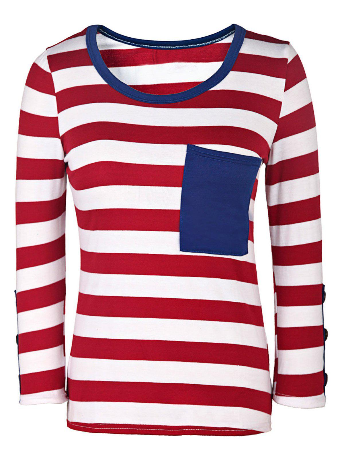 Casual Style 3/4 Sleeve Scoop Neck Buttoned Striped Women's T-Shirt - RED/WHITE M