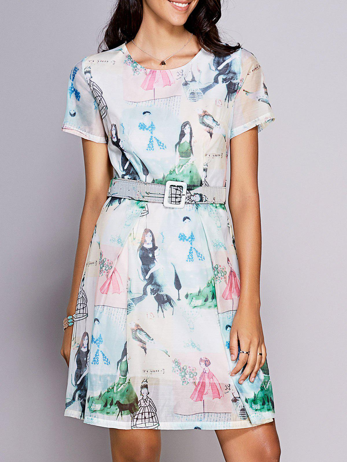 Women's Stylish Round Neck Short Sleeve Printed Belted Dress - COLORMIX S
