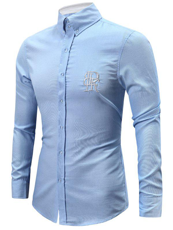 Turn-Down Collar Letters Embroidery Long Sleeve Button-Down Men's Shirt - LIGHT BLUE L