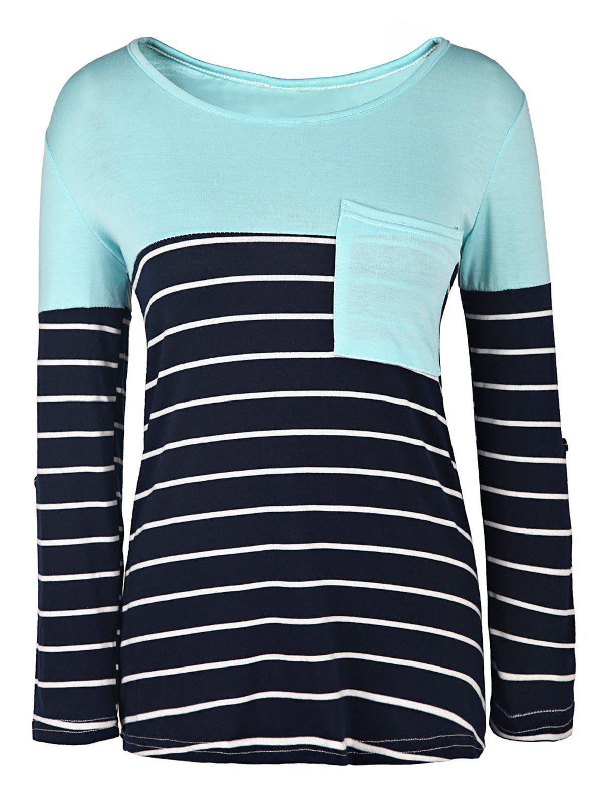 Casual Style 3/4 Sleeve Scoop Neck Stripe Splicing Women's T-Shirt - BLUE/WHITE S
