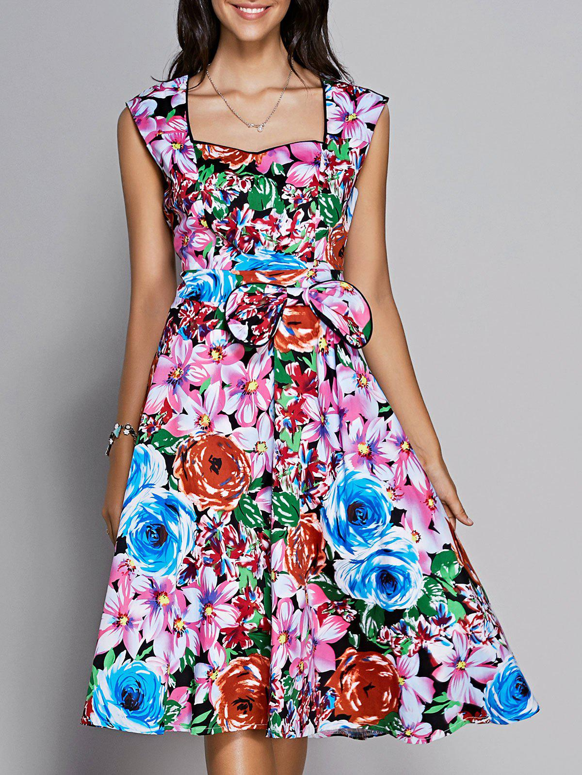 Retro Women's Colorized Floral Sleeveless Sweetheart Neck Dress - COLORMIX XL