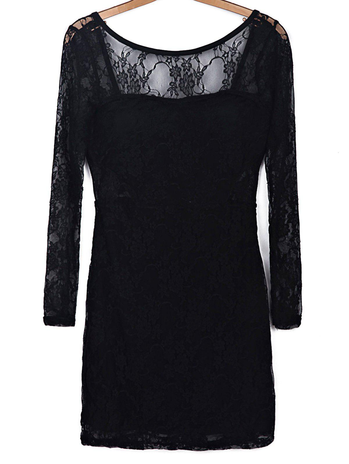 Trendy Black Hollow Out Long Sleeve Backless Bodycon Lace Dress For Women - BLACK S