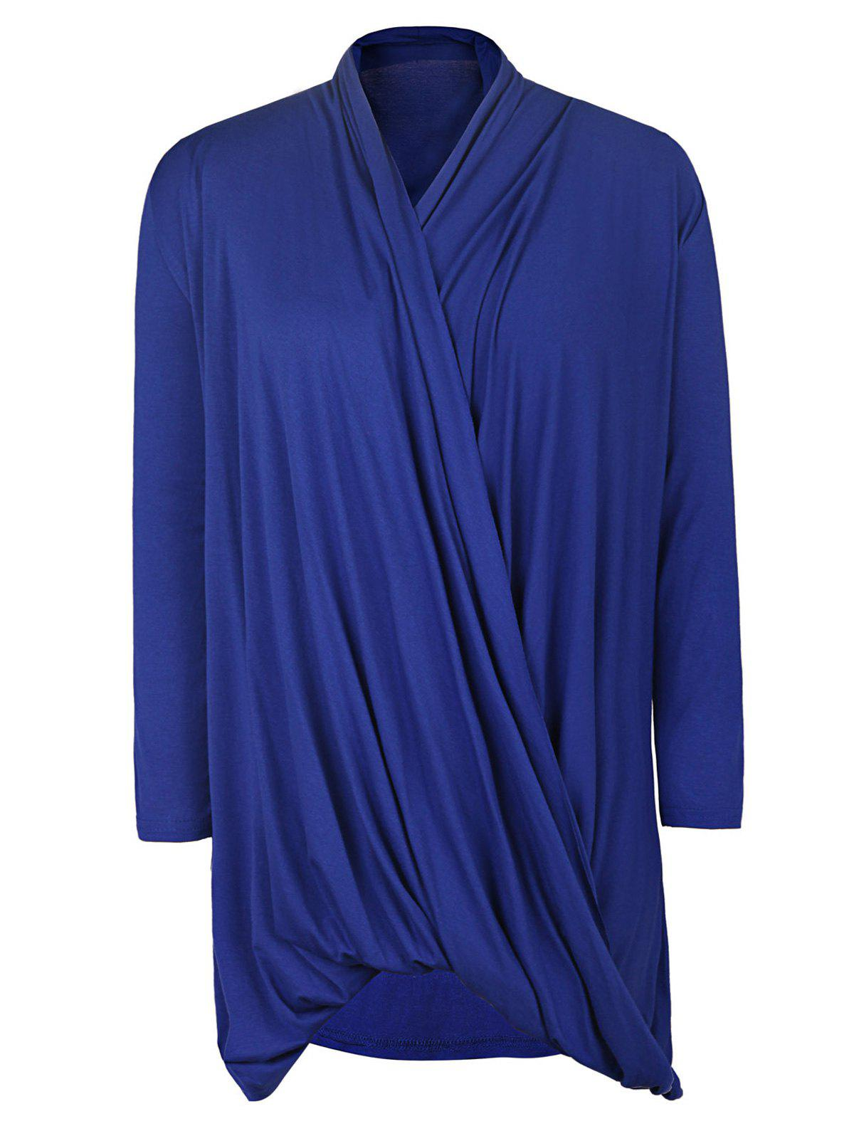Simple Style Solid Color Cowl Neck 3/4 Sleeve Pleated Loose Blouse For Women michael kors women s 3 4 sleeve cowl neck top shirt