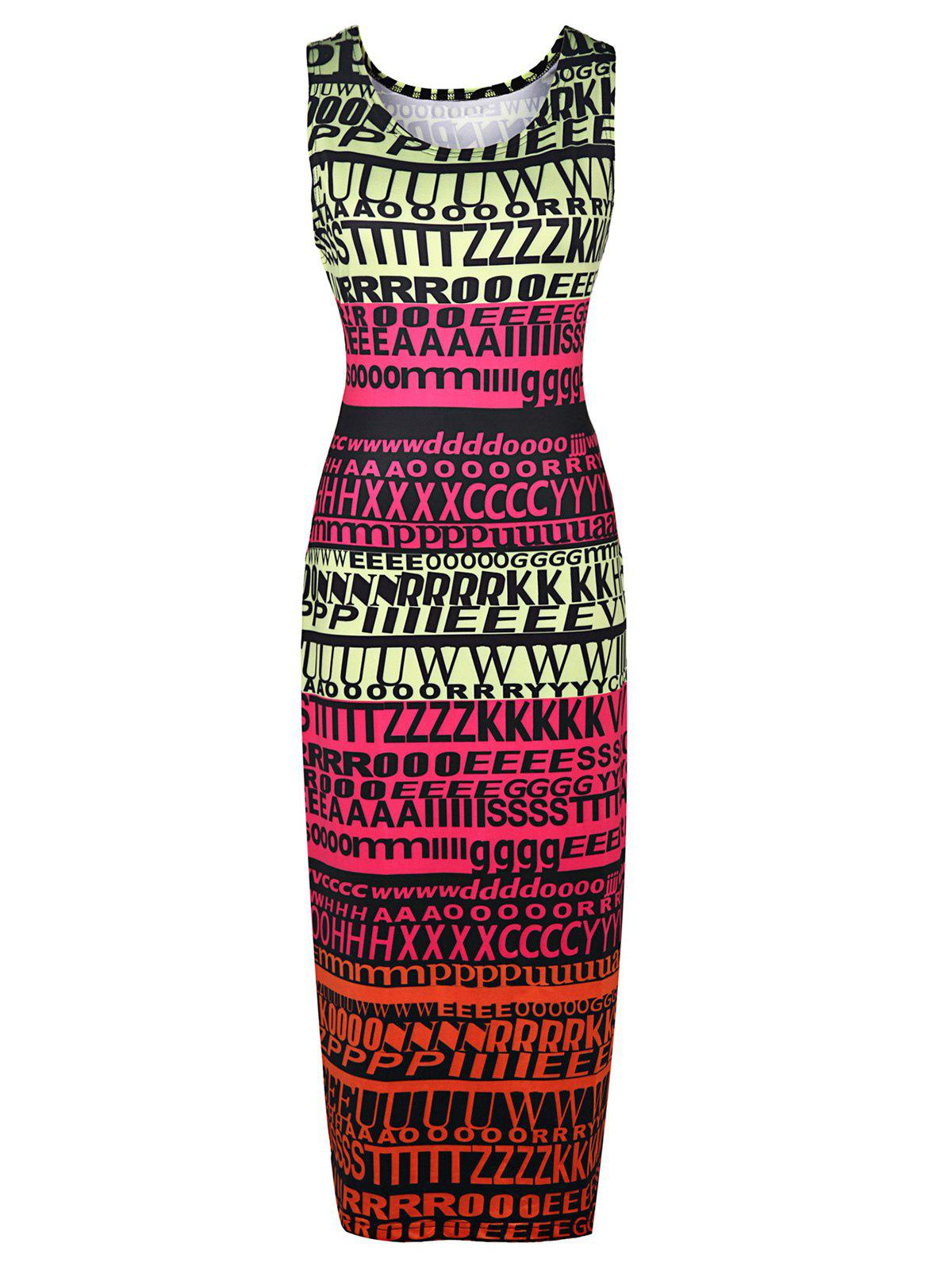 Stylish Sleeveless Round Neck Full Letter Print Women's Bodycon Sundress - COLORMIX S