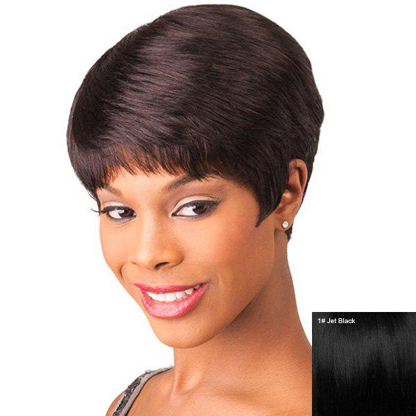 Women's Fluffy Full Bang Human Hair Short Layered Cut Wig - JET BLACK