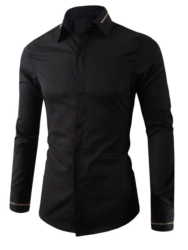 Turn-Down Collar Zipper Embellished Design Long Sleeve Men's Shirt - BLACK L