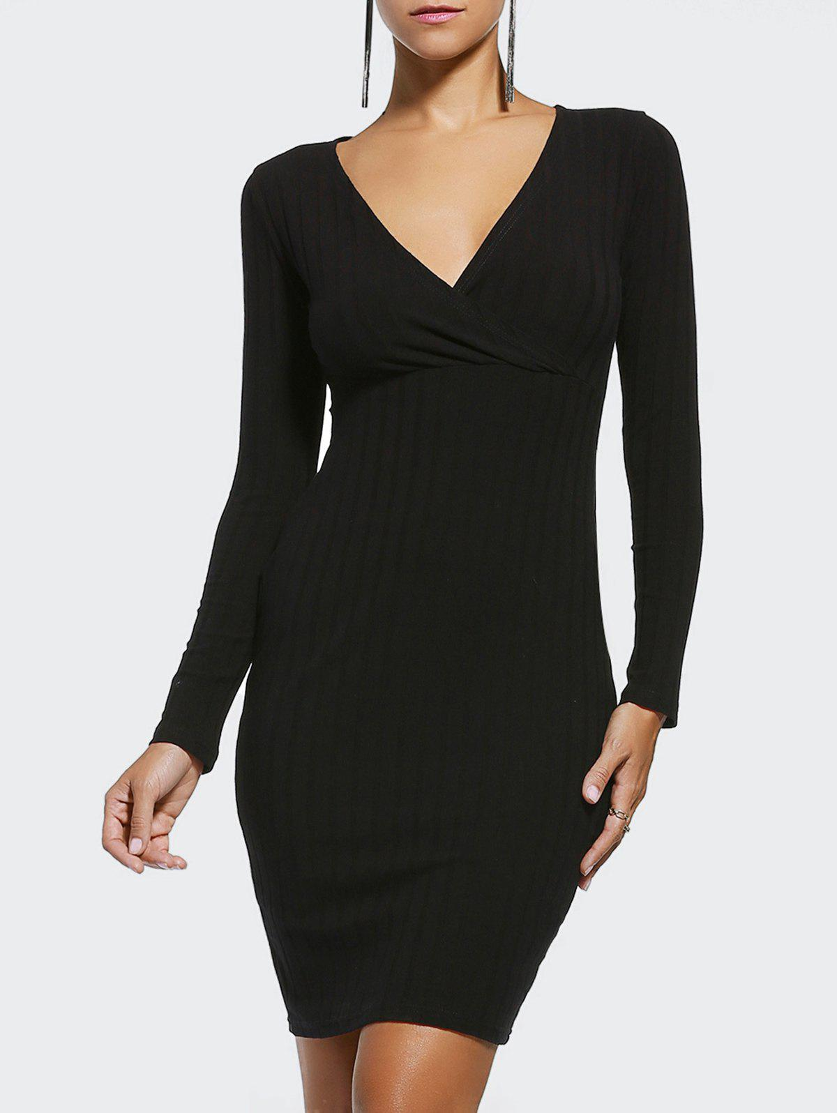 Elegant Plunging Neck Long Sleeve Patchwork Bodycon Dress For Women - BLACK XL