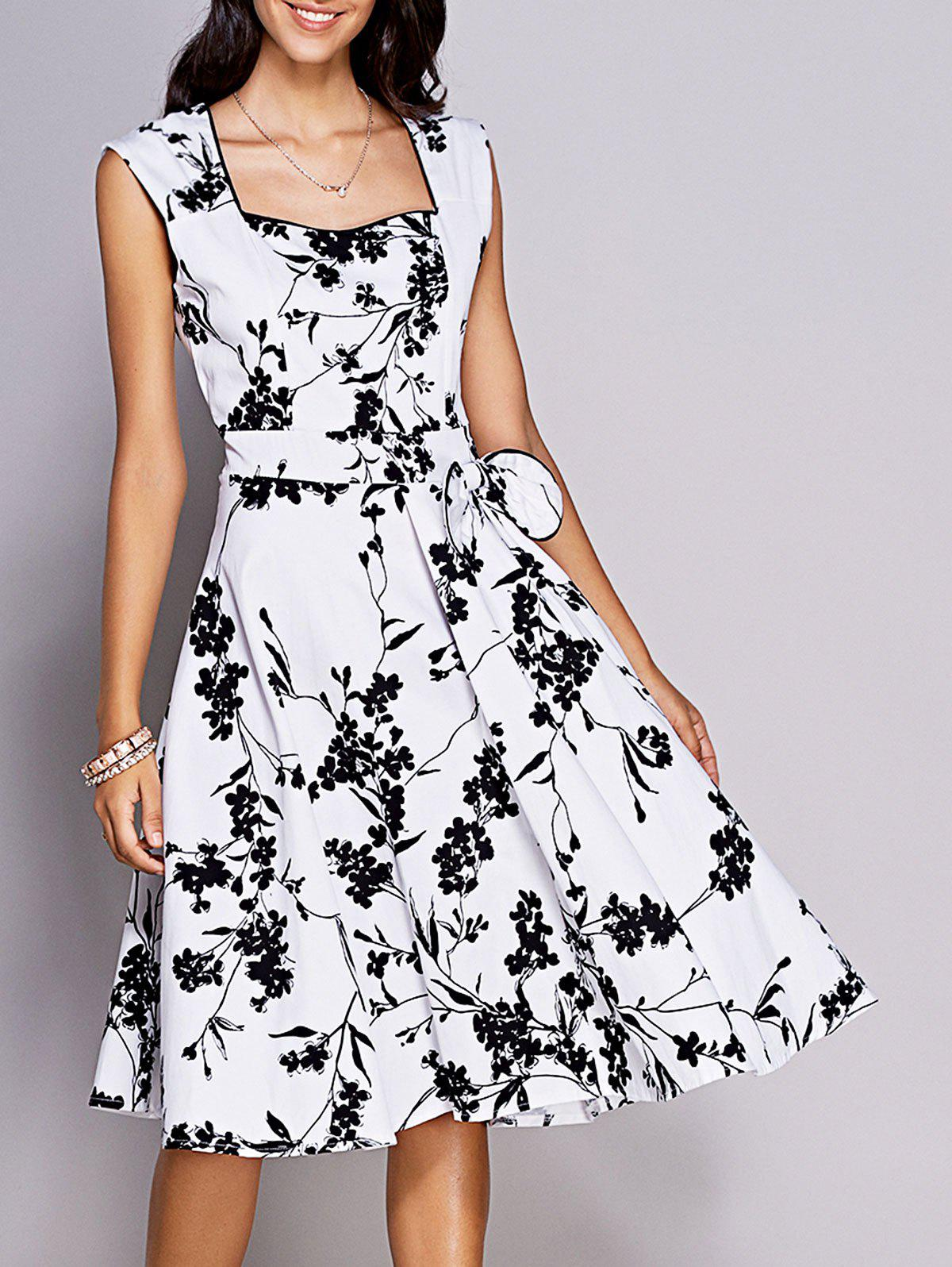 Retro Women's Floral Sweetheart Neck Bowknot Embellished Dress - WHITE/BLACK 2XL