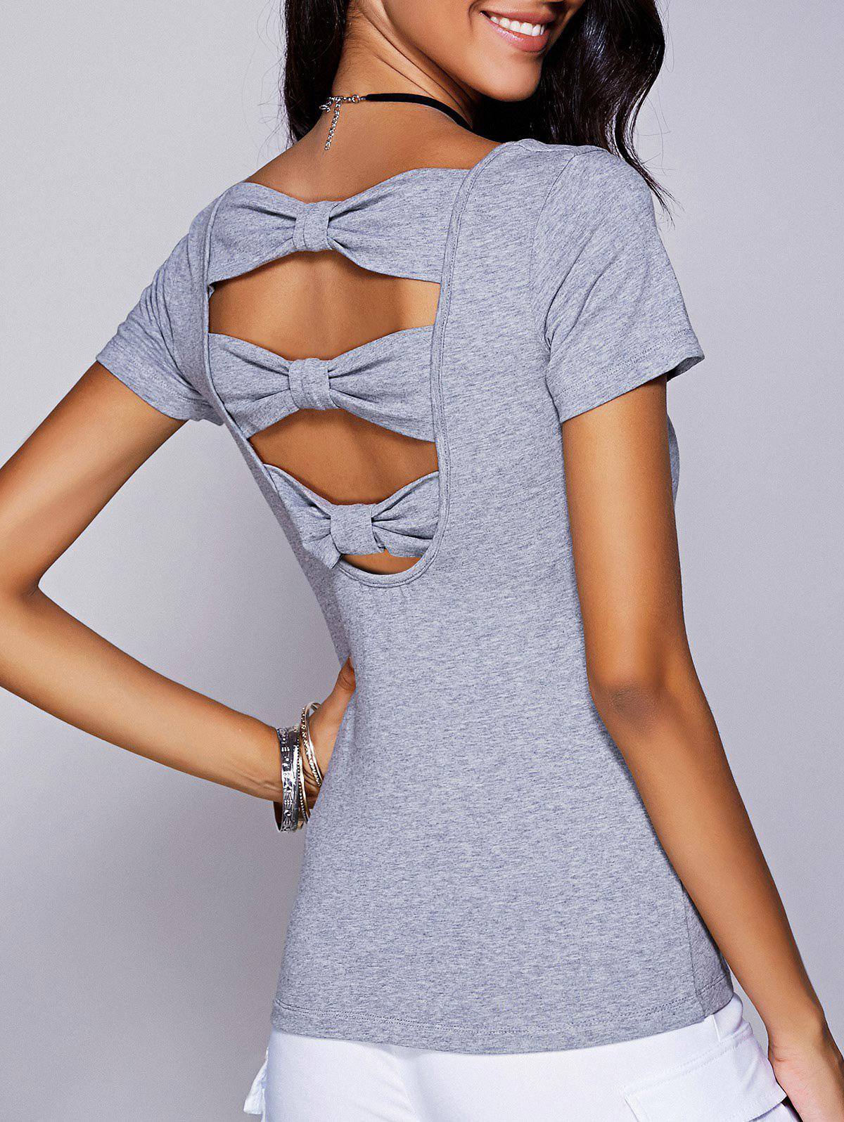 Casual Women's Scoop Neck Cut Out Bowknot T-Shirt - GRAY L