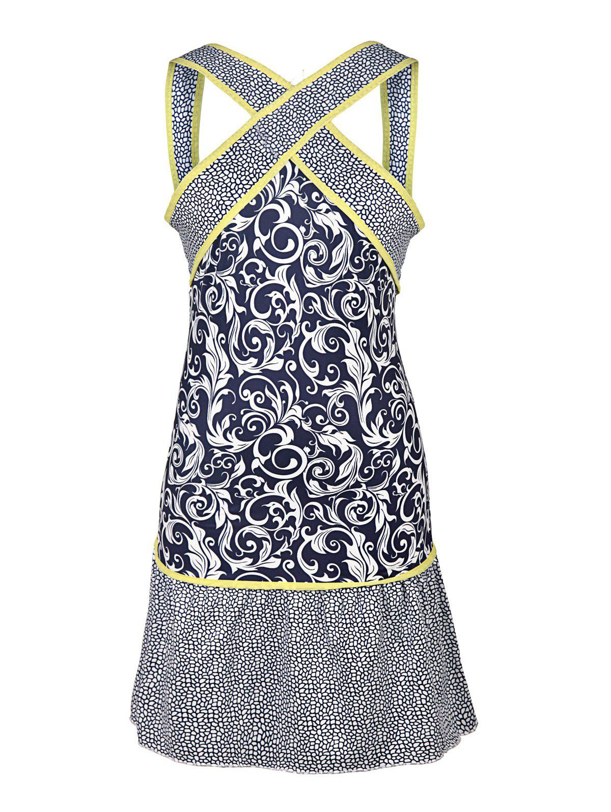 Sexy V-Neck Sleeveless Color Block Printed Women's Dress