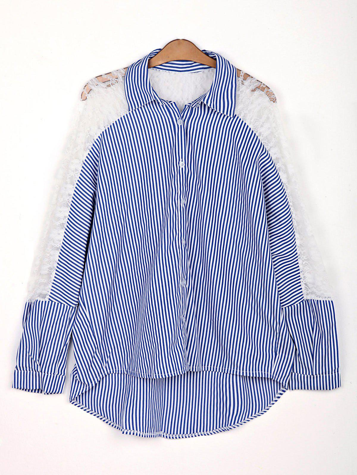 Stylish Shirt Collar 3/4 Sleeve Striped Hollow Out Women's Shirt - 2XL AS THE PICTURE