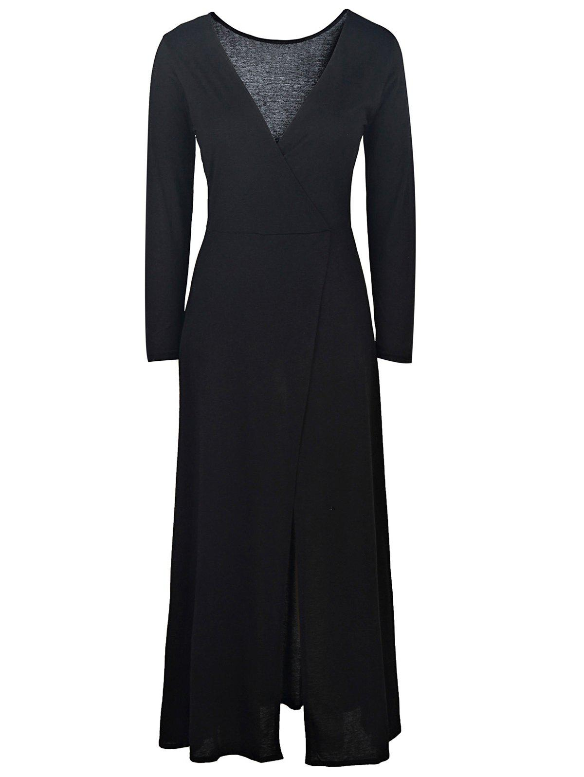Sexy Black Plunging Neck High Slit Long Sleeve Dress For Women - BLACK M