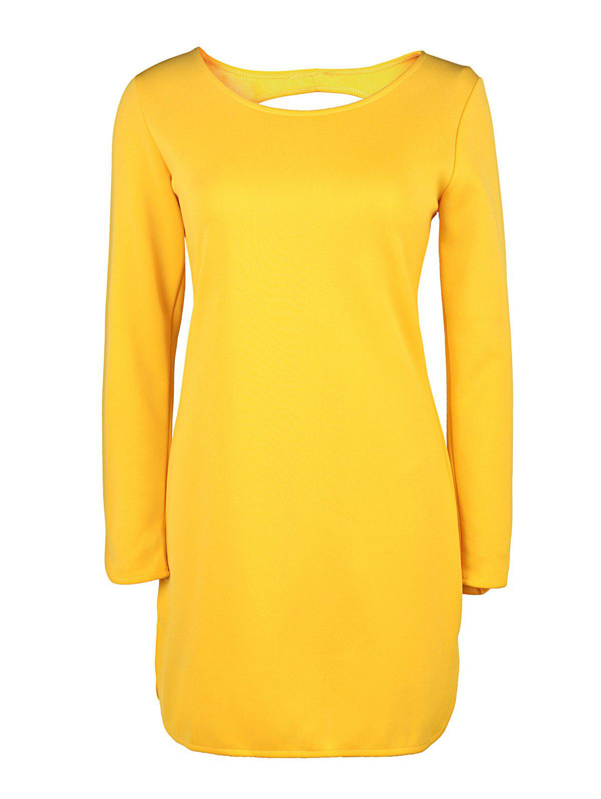 Brief Style Long Sleeve Round Collar Hollow Out Women's Yellow Dress