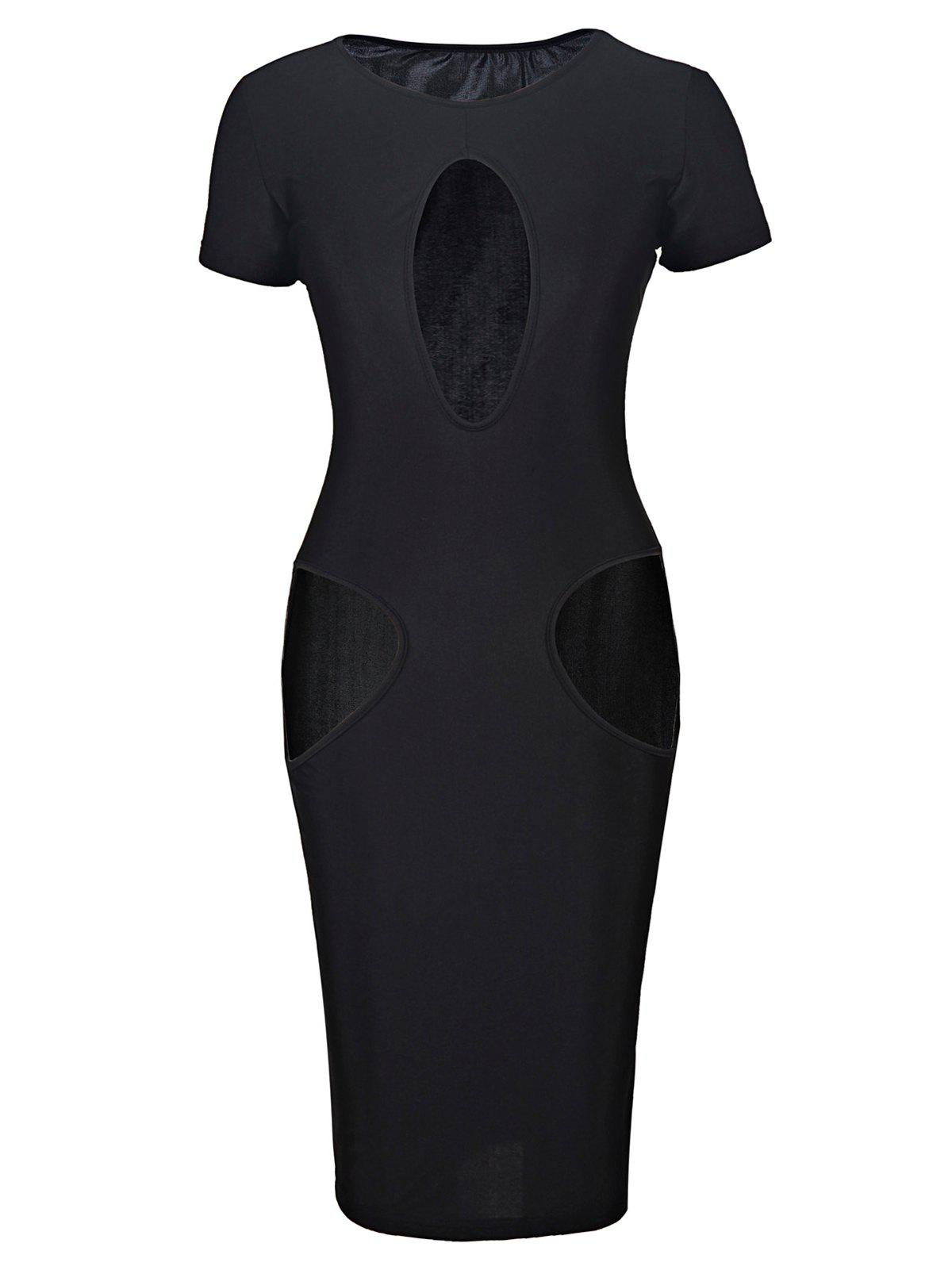 Novelty Black Jewel Neck Breast and Waist Hollow Out Bodycon Dress For Women - BLACK M