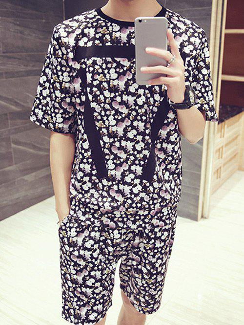 Men's Floral Stripes Pattern Round Neck Short Sleeves Printed T-Shirt Suits(T-Shirt+Shorts) - COLORMIX 3XL