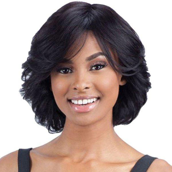Women's Flufffy Curly Inclined Bang Human Hair Wig - JET BLACK