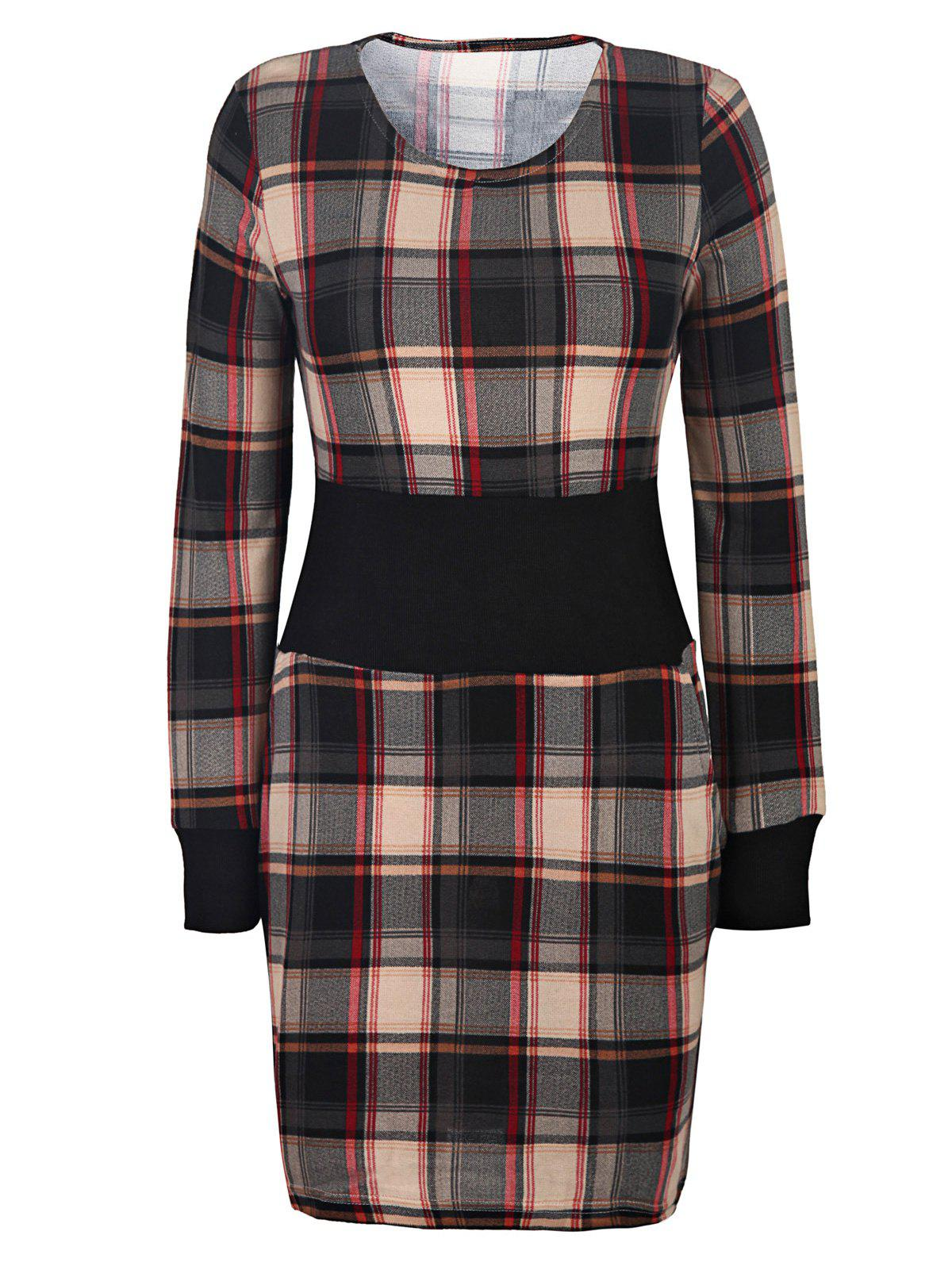Stylish Scoop Neck Long Sleeve Slimming Gingham Women's Dress - BROWN S
