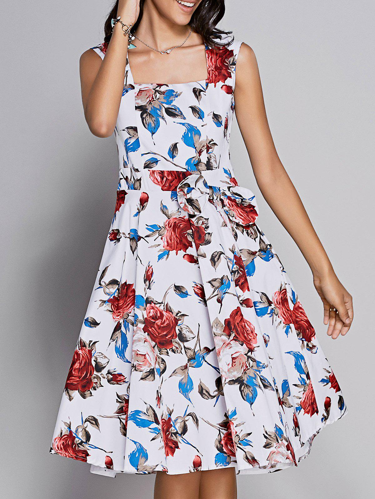 Retro Women's Rose Print Sweetheart Neck Bowknot Embellished Dress