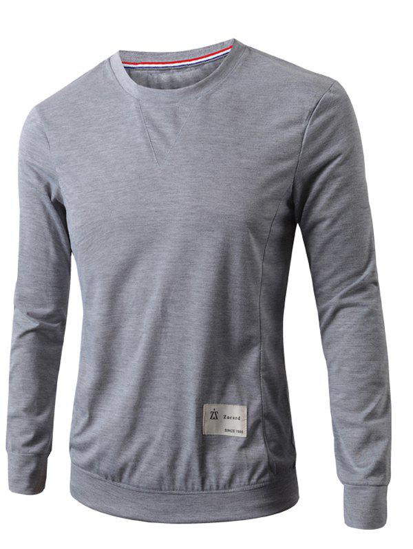 Round Neck Applique Long Sleeve Slimming Men's T-Shirt - LIGHT GRAY L
