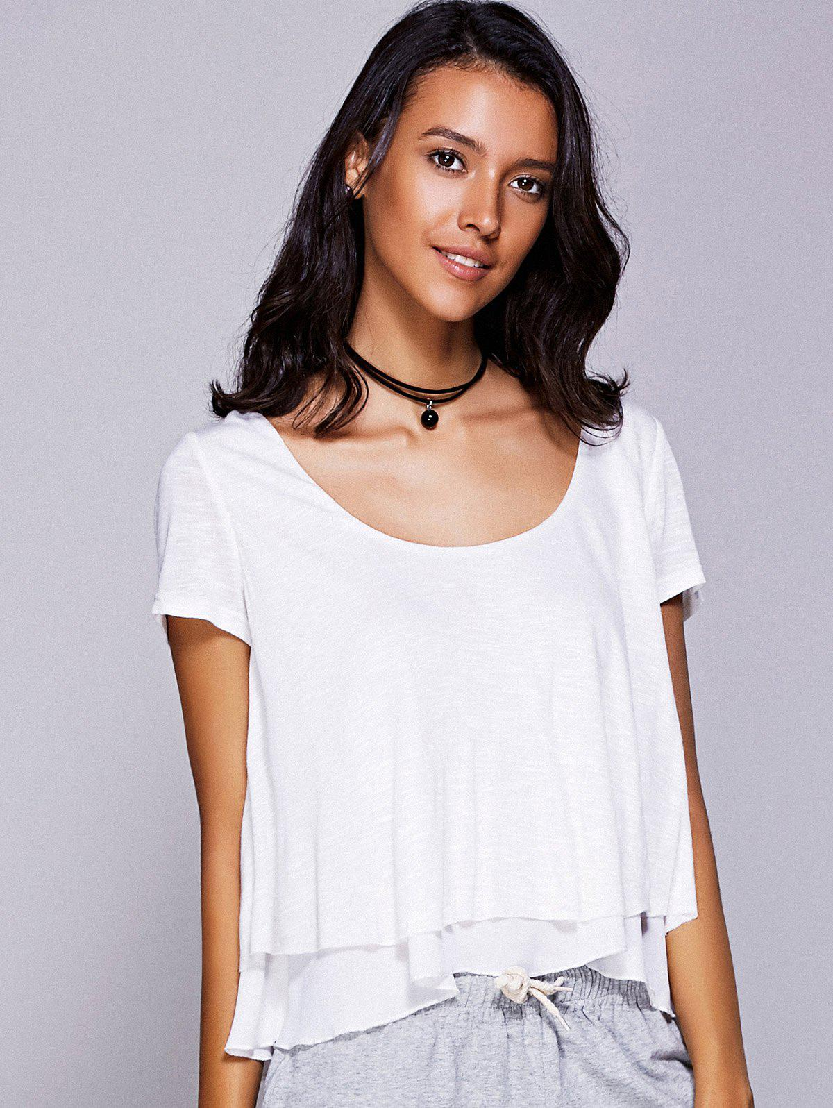 Casual Women's Scoop Neck Ruffled Tiered T-Shirt - WHITE S