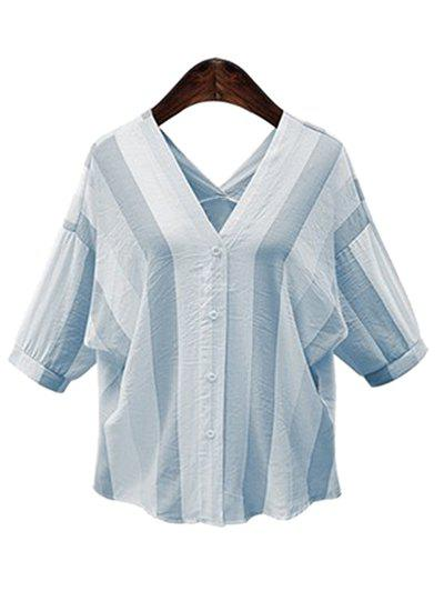 V-Neck Button Down Chic Vertical Striped Women's Blouse - LIGHT BLUE 3XL