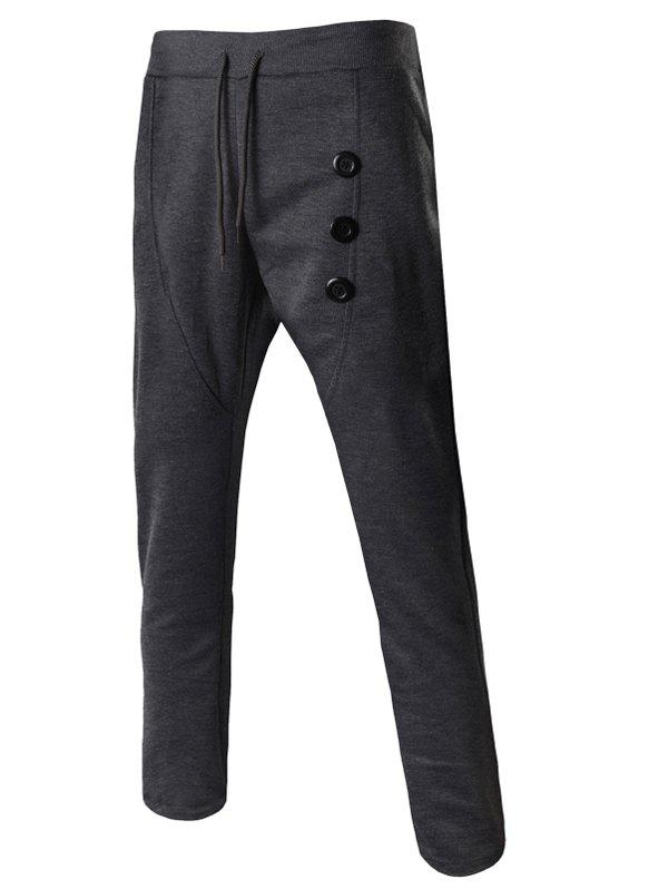 Buttons Embellished Lace-Up Narrow Feet Men's Pants - DEEP GRAY M