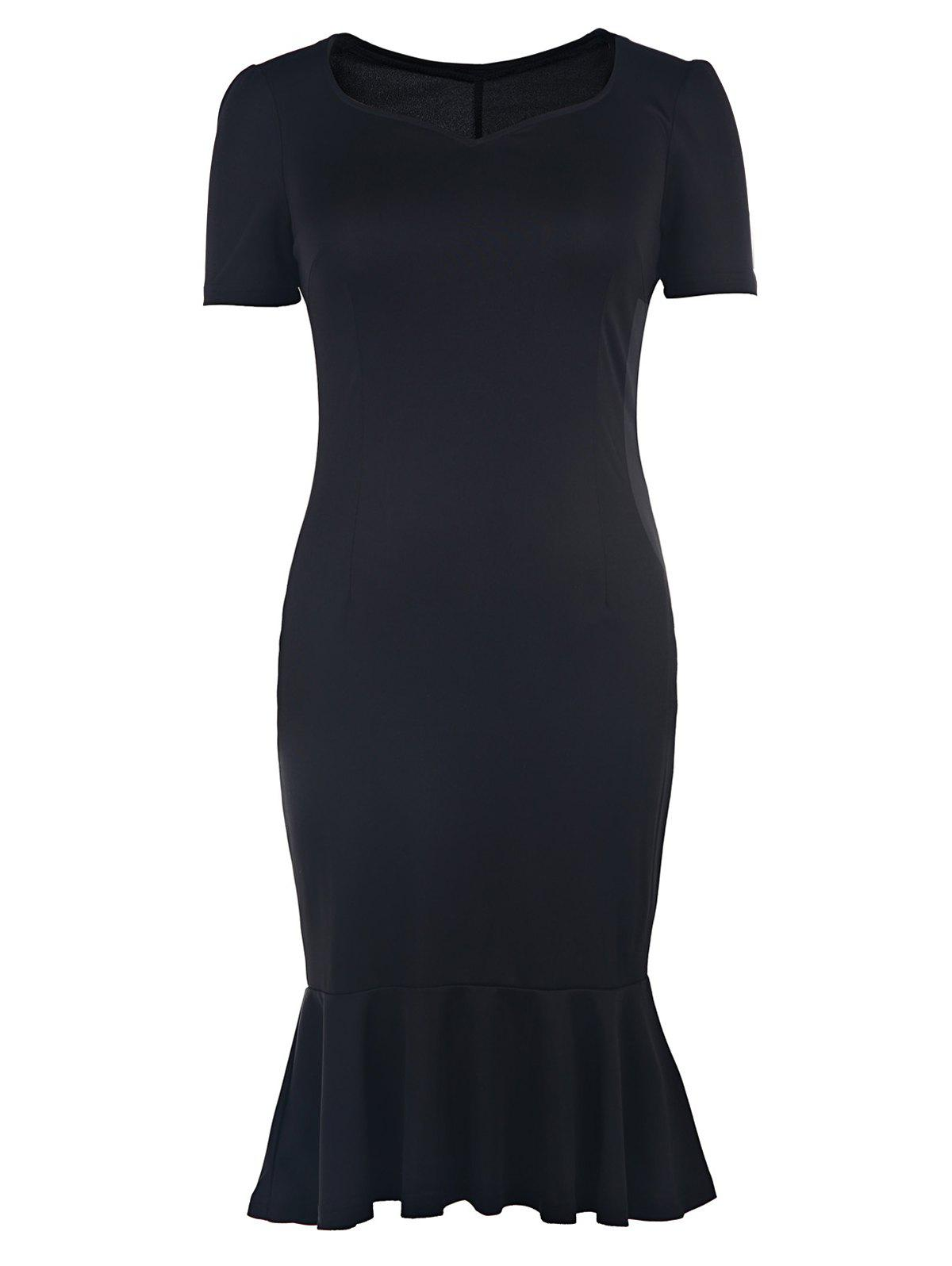 Elegant Sweetheart Collar Solid Color Bodycon Fishtail Dress For WomenWomen<br><br><br>Size: M<br>Color: BLACK