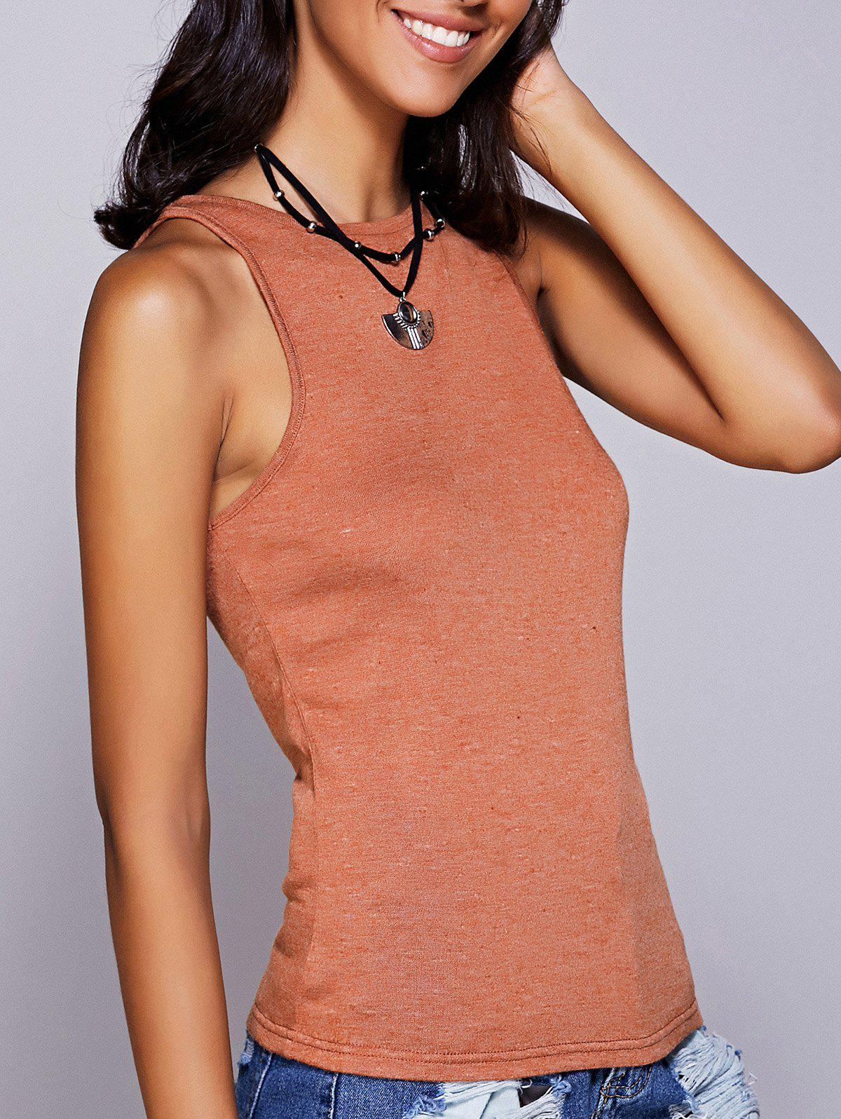 Casual Women's Round Neck Solid Color Tank Top - LATERITE L
