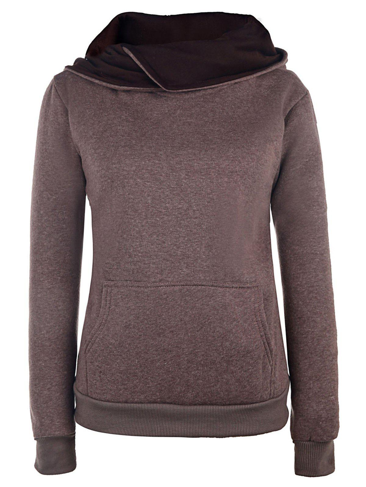 Casual Style Long Sleeve Hooded Fleece Pure Color Women's Pullover Hoodie - KHAKI L