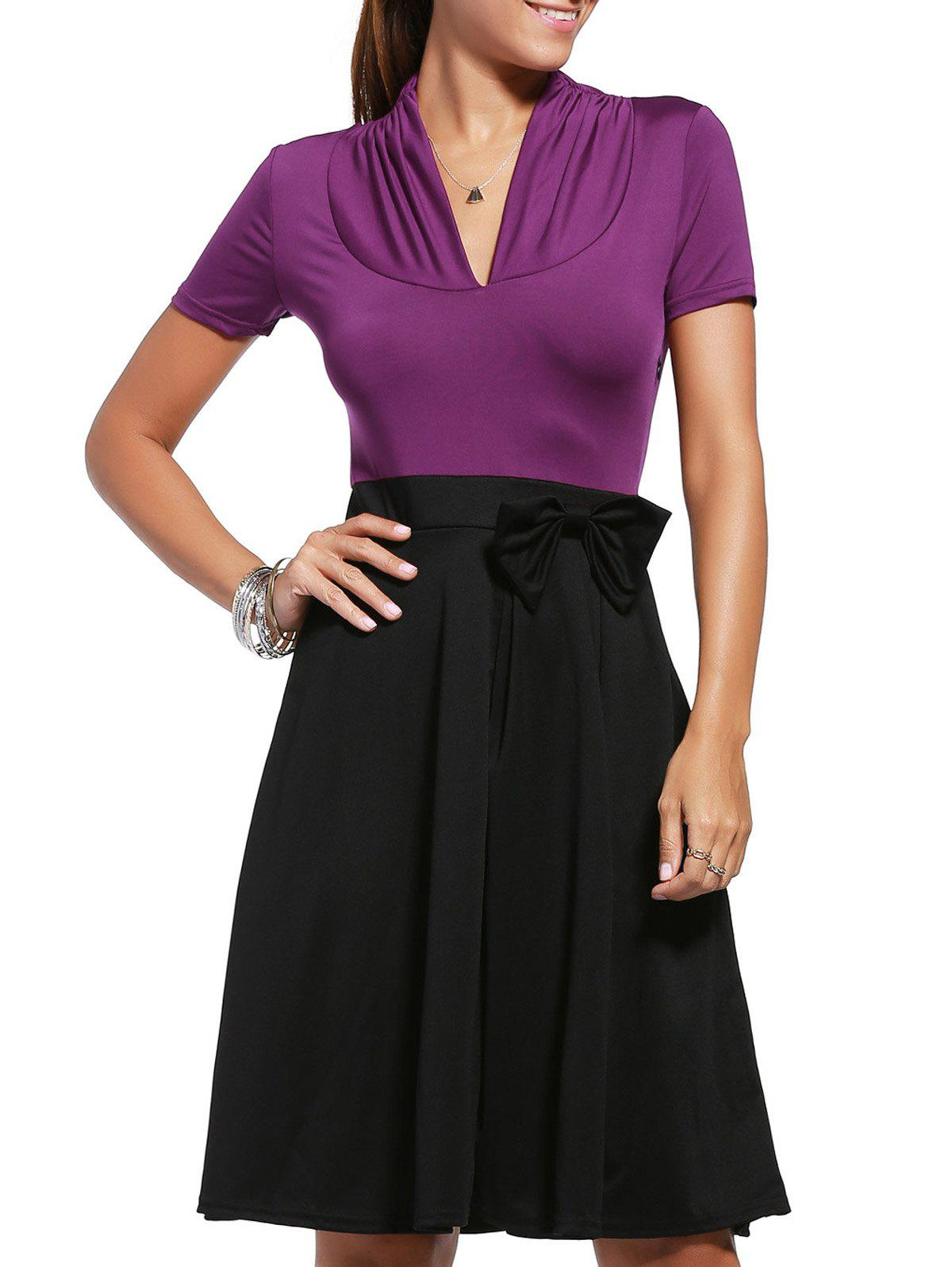 Bowknot Embellished Two Tone Dress - XL PURPLE