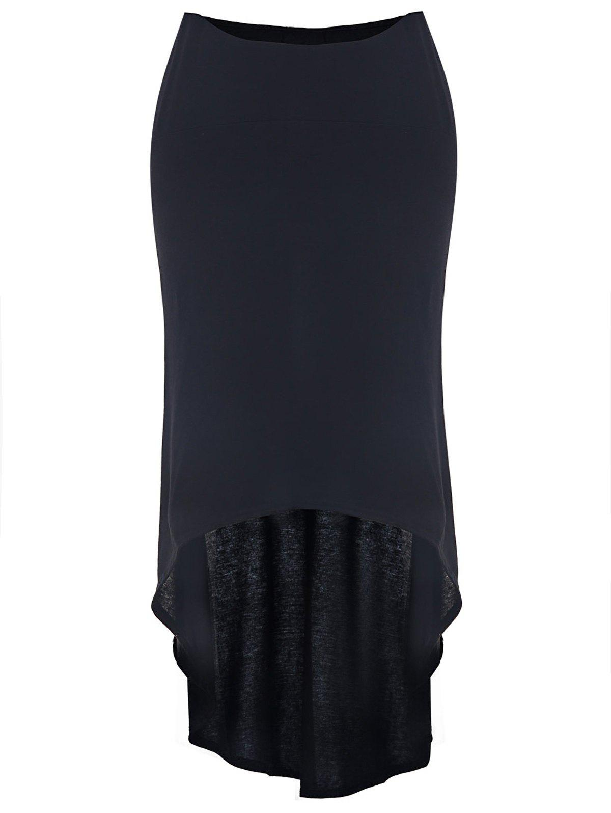 Charming Mid-Waisted Asymmetrical Solid Color Women's Skirt - BLACK L