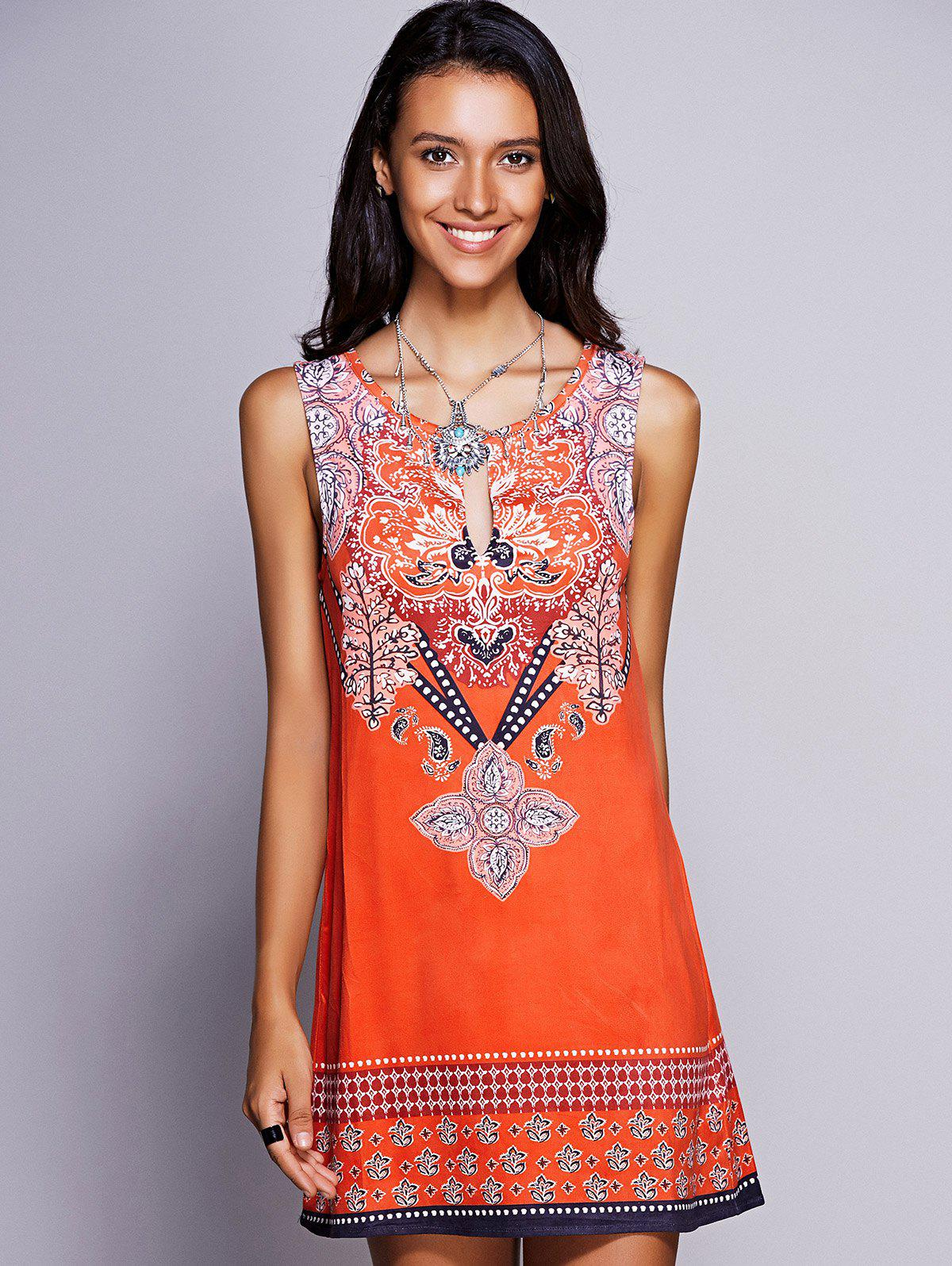 Ethnic Women's Keyhole Neckline Print Dress - ORANGE RED L