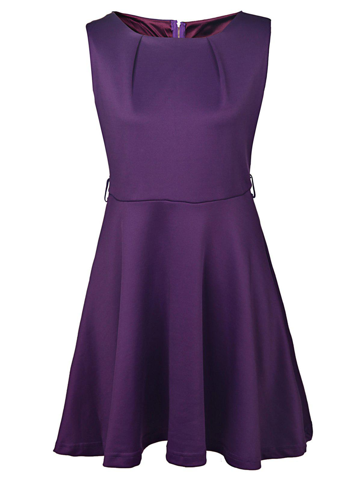 Graceful Sleeveless Round Collar Pure Color Women's Dress - PURPLE M