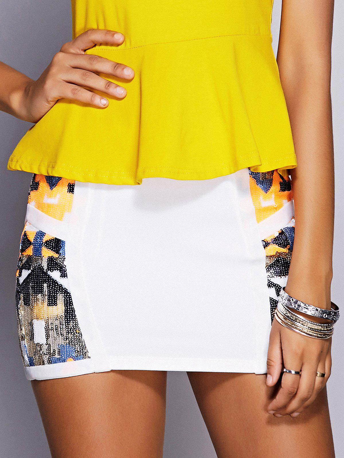 Stylish Women's Sequined Mini Skirt - WHITE L