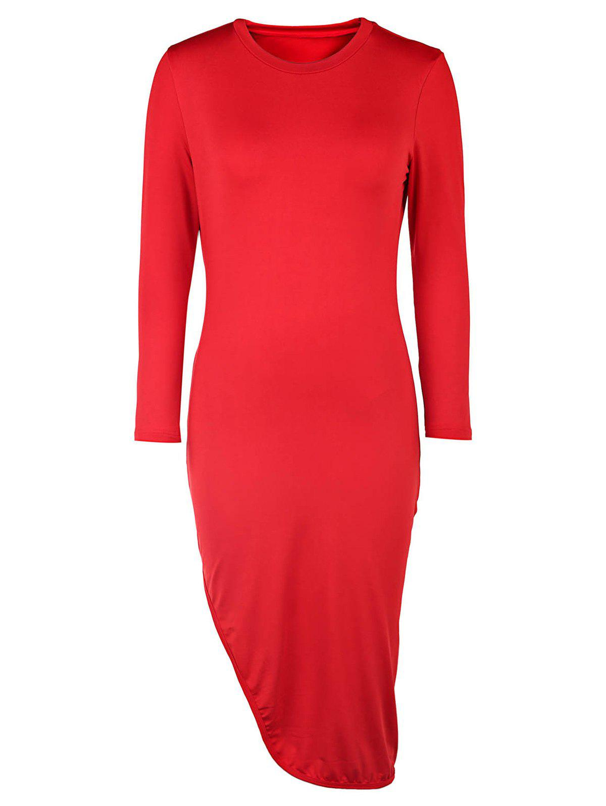 Sexy Round Neck 3/4 Sleeve High Slit Solid Color Women's Dress - RED L
